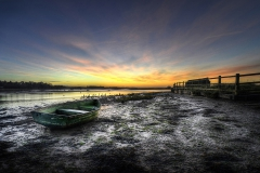 Green Boat Sunrise